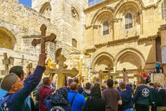 Orthodox good Friday 2018 in Jerusalem. Jerusalem, Israel - April 6, 2018: Orthodox good Friday scene in the entry yard of the church of the holy sepulcher, with Royalty Free Stock Photos