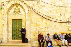 Orthodox good Friday 2018 in Jerusalem. Jerusalem, Israel - April 6, 2018: Orthodox good Friday scene in the entry yard of the church of the holy sepulcher, with Royalty Free Stock Image