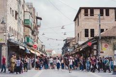 JERUSALEM, ISRAEL - APRIL 2017: People buy foodstuff at the Jerusalem Mahane Yehuda local market.  royalty free stock image