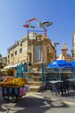Avtimus market, old city of Jerusalem. Jerusalem, Israel - April 6, 2018: Scene of Avtimus market, with local businesses, locals and visitors. The old city of Stock Image