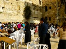 Colors of Israel. Jerusalem Israel April 16, 2018 Unknown woman praying front the Western Wall at the old city of Jerusalem on afternoon Royalty Free Stock Photos