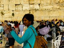 Colors of Israel. Jerusalem Israel April 16, 2018 Unknown woman praying front the Western Wall at the old city of Jerusalem on afternoon Royalty Free Stock Photo