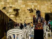 Colors of Israel. Jerusalem Israel April 16, 2018 Unknown woman praying front the Western Wall at the old city of Jerusalem on afternoon Stock Photography