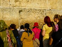 Colors of Israel. Jerusalem Israel April 16, 2018 Unknown woman praying front the Western Wall at the old city of Jerusalem on afternoon Royalty Free Stock Images