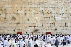 JERUSALEM, ISRAEL - APRIL 2017: The Western wall or Wailing wall is the holiest place to Judaism in the old city of Jerusalem, Is stock photography