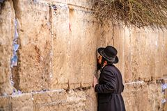 11/23/2018 Jerusalem, Israel, Believing is praying near the wall of crying in a big black hat. And kiss the wall royalty free stock image