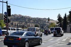 Jerusalem, Israel, cars in the east part of the city, Mount of Olives in the background, close to old city stock image