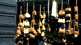 Jerusalem road market. Jerusalem, Israel - Circa 1979: ancient alleys of Jerusalem Old City in suq ed-dabbagha road of Christian Quarter. Shuk Hatsaba`im street stock video footage