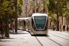 JERUSALEM, ISRAEL, CIRCA 2014. Tramway in the city center Stock Photography