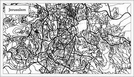 Jerusalem Israel City Map in Black and White Color. Royalty Free Stock Photography