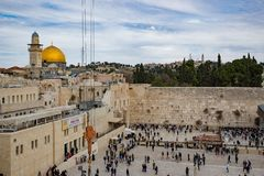 JERUSALEM, ISRAEL - December 1, 2018: People praying at the Western Wall, Wailing Wall stock photography