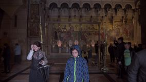 Jerusalem, Israel - December 07, 2018: Church of the Holy Sepulchre, Interior. Church of the Resurrection is a church in the Chri