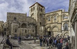 The main entrance to the Church of the Holy Sepulchre royalty free stock photography