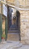 Narrow street in the old town of Jerusalem Royalty Free Stock Image