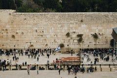 JERUSALEM, ISRAEL - December 1, 2018: People praying at the Western Wall, Wailing Wall royalty free stock image
