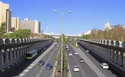Road with intensive traffic in Jerusalem Royalty Free Stock Photos