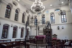 JERUSALEM, ISRAEL - DECEMBER 04, 2018: Synagogue interior in Jerusalem royalty free stock photography