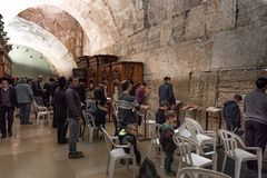 JERUSALEM, ISRAEL - DECEMBER 04, 2018: The Western Wall, Wailing Wall, or Kotel, known in Islam as the Buraq Wall. Is an ancient limestone wall in the Old City royalty free stock photo