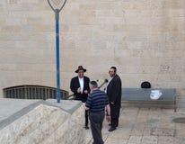 JERUSALEM, ISRAEL. Elderly Orthodox Jews talk Stock Photography