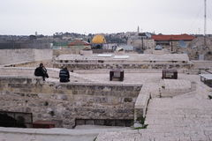 JERUSALEM, ISRAEL - 28 FEB 2017 -Police on Jerusalem Roofs. View on Dome of the Rock Royalty Free Stock Image