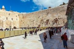 JERUSALEM, ISRAEL - FEBRUARY 17, 2013: People praying near Weste Royalty Free Stock Photography