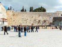 JERUSALEM, ISRAEL - FEBRUARY 17, 2013: People praying near Weste Stock Photo