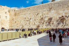 JERUSALEM, ISRAEL - FEBRUARY 17, 2013: People praying near Weste Royalty Free Stock Photos