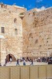 JERUSALEM, ISRAEL - FEBRUARY 17, 2013: People praying near Weste Stock Image