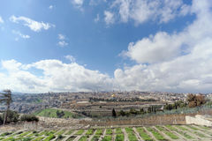 Jerusalem, Israel. - February 15.2017. View of the old town from the top of the Mount of Olives. Old Jewish cemetery. Stock Image