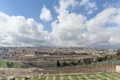 Jerusalem, Israel. - February 15.2017. View of the old town from the top of the Mount of Olives. Old Jewish cemetery. Royalty Free Stock Image