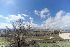 Jerusalem, Israel. - February 15.2017. View of the old town from the top of the Mount of Olives. Old Jewish cemetery. Stock Photo