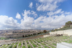 Jerusalem, Israel. - February 15.2017. View of the old town from the top of the Mount of Olives. Old Jewish cemetery. Royalty Free Stock Photo