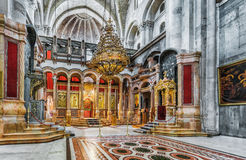 Jerusalem. Israel. Holy Sepulchre Church - Church of the Resurrection. Part of the Holy Sepulchre - Church of the Resurrection. At its center on the marble royalty free stock image