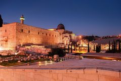 Evening view of Western Wall in Jerusalem. Israel stock images
