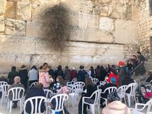 JERUSALEM, ISRAEL - JANUARY 22, 2019: Women pray at the Wailing Wall. The Western Wall, Wailing Wall or Kotel is located. In the Old City of Jerusalem at the royalty free stock image