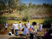 Jerusalem/Israel - July 04, 2017 -Jordan river christening/baptism point. Christian pilgrimage Stock Photo