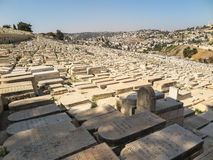 JERUSALEM, ISRAEL - July 13, 2015: Old jewish graves on the mount of olives in Jerusalem, Royalty Free Stock Photos