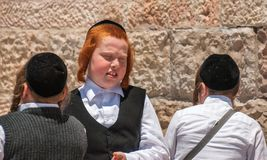 Religious jewish boys near to Western Wall in Jerusalem, Israel royalty free stock images