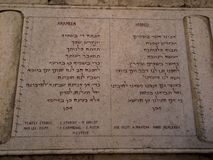 JERUSALEM, ISRAEL - JULY 13, 2015: Text of the Pater Noster prayer in Hebrew and Aramaic Jesus languages on one of the walls