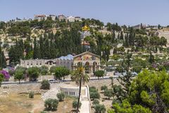 Exterior view of the Church of All Nations or the Basilica of the Agony on the Mount of Olives in Jerusalem. Jerusalem, Israel - June 16, 2018: Exterior view of stock photo