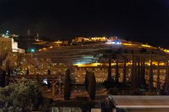 The Western Wall of Jersusalem by Night. Jerusalem, Israel. June 5 2013. Impression of the Old Temple Wall, plus Exavations in Old Jerusalem royalty free stock photos