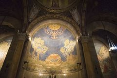 Interior view of the Church of All Nations or the Basilica of the Agony on the Mount of Olives in Jerusalem. Jerusalem, Israel - June 16, 2018: Interior view of royalty free stock photo