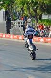 JERUSALEM/ISRAEL - 13. Juni 2013:  Berühmter Motorradrennläufer Chris Pfeiffers, berühmt für seine Bremsungen. Lizenzfreie Stockfotos