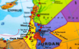Jerusalem Israel map. Jerusalem in Israel pinned on colorful political map of Middle East. Geopolitical school atlas. Tilt shift effect Royalty Free Stock Images