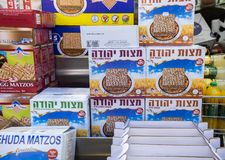 Boxes of Matzot Kosher for Passover, for sale stock images