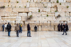 JERUSALEM, ISRAEL - MARCH 15, 2016: People at the Wailing (Western) Wall in the old town Jerusalem (Israel). JERUSALEM, ISRAEL - MARCH 15, 2016: People at the royalty free stock photo