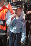 JERUSALEM, ISRAEL - MARCH 15, 2006: Purim carnival in the famous ultra-orthodox quarter of Jerusalem - Mea Shearim. Portrait of a boy children dressed in Royalty Free Stock Photos