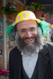 JERUSALEM, ISRAEL - MARCH 15, 2006: Purim carnival in the famous ultra-orthodox quarter of Jerusalem - Mea Shearim. Portrait of  men dressed in traditional Stock Photography