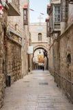 Pilgrims on Via Dolorosa, Jerusalem Stock Photo
