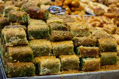 Colors of Israel. Jerusalem Israel May 24, 2018 Closeup of various pastries sold in the market of Jerusalem in Israel in the evening Stock Image